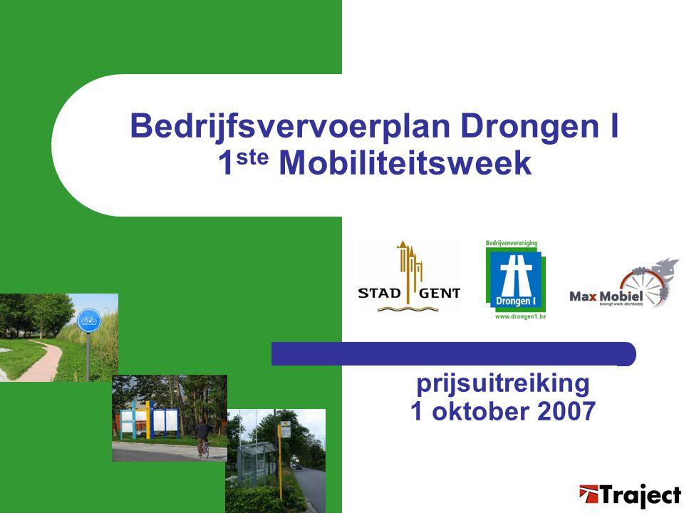Resultaten 1 ste Mobiliteitsweek  161 deelnemers – 25 automobilisten die alternatief uittesten – 136 werknemers die reeds duurzaam pendelen – uit in totaal 19 bedrijven (16 in sep 2006)