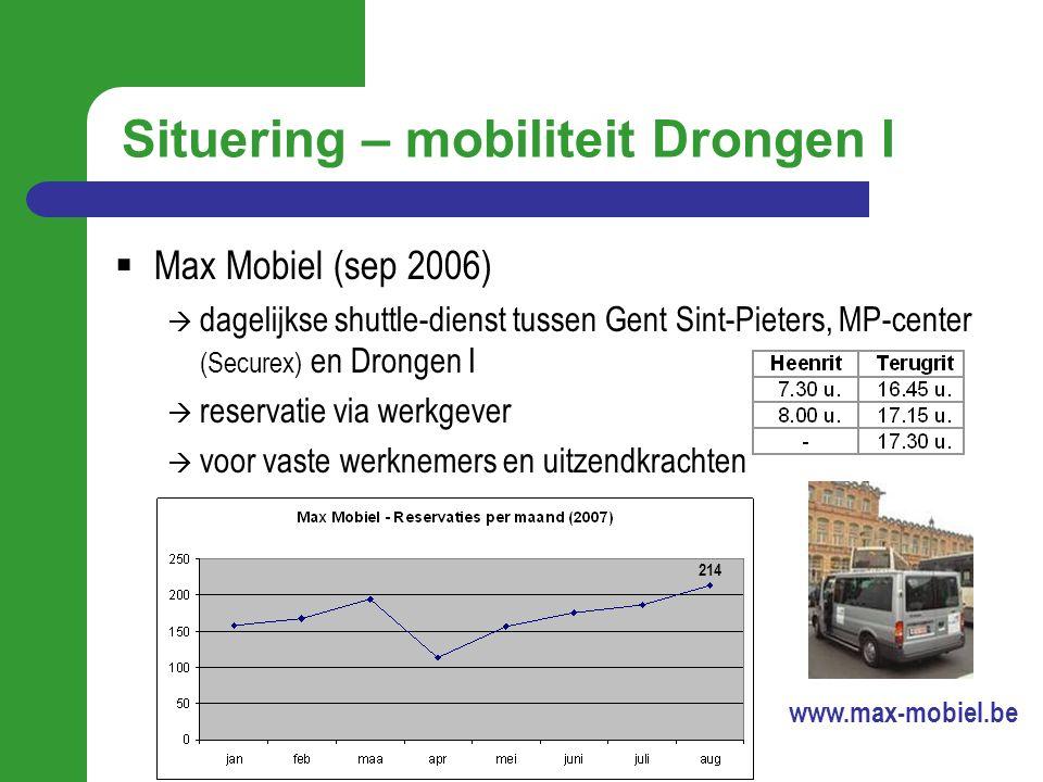 Situering – mobiliteit Drongen I  Max Mobiel (sep 2006)  dagelijkse shuttle-dienst tussen Gent Sint-Pieters, MP-center (Securex) en Drongen I  rese