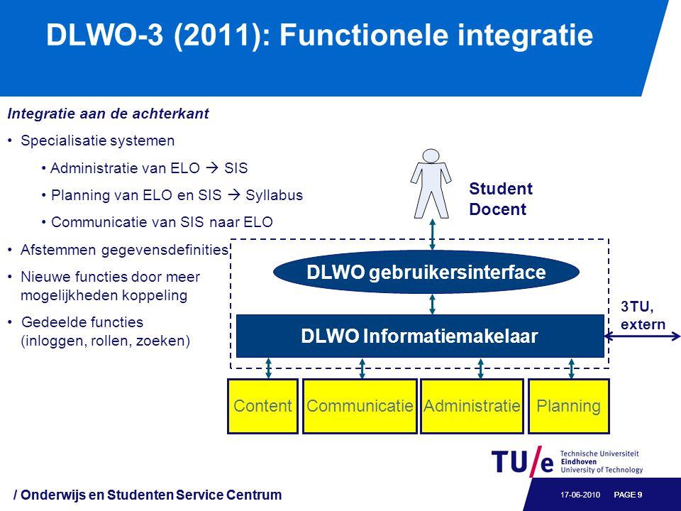 DLWO-3 (2011): Functionele integratie / Onderwijs en Studenten Service Centrum PAGE 917-06-2010 / Onderwijs en Studenten Service Centrum PAGE 9 Integr