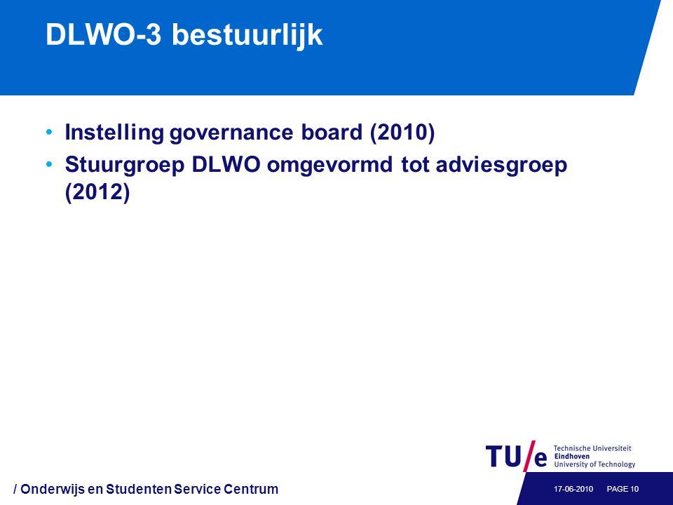 DLWO-3 bestuurlijk Instelling governance board (2010) Stuurgroep DLWO omgevormd tot adviesgroep (2012) / Onderwijs en Studenten Service Centrum PAGE 1