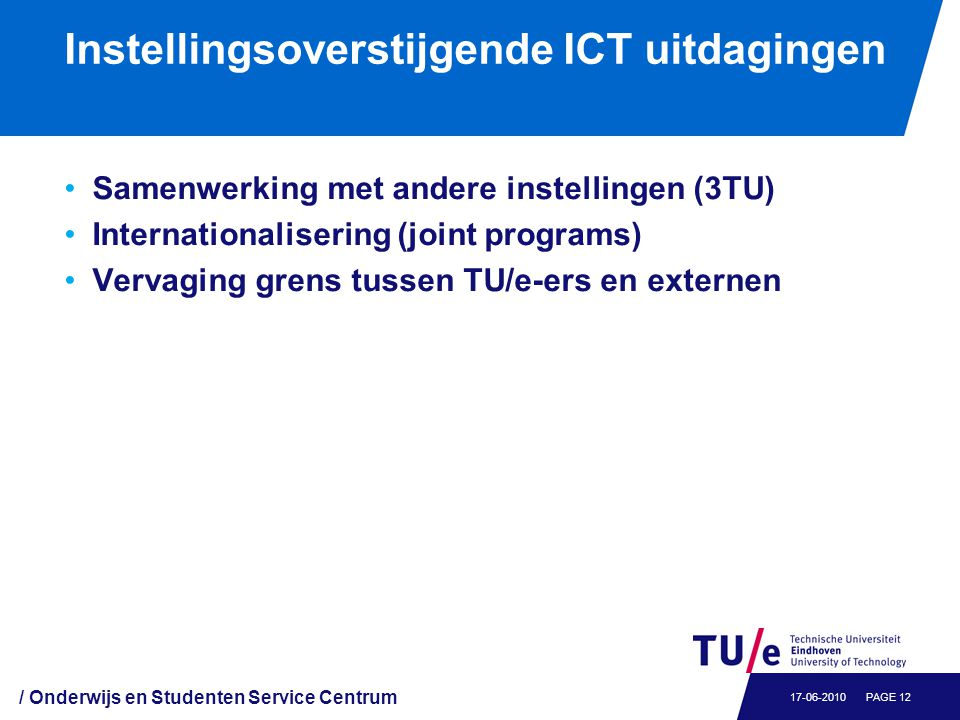 Instellingsoverstijgende ICT uitdagingen Samenwerking met andere instellingen (3TU) Internationalisering (joint programs) Vervaging grens tussen TU/e-