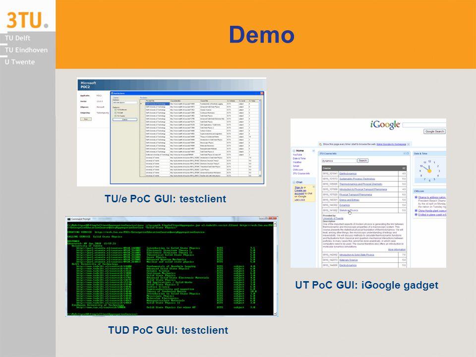 Demo TU/e PoC GUI: testclient UT PoC GUI: iGoogle gadget TUD PoC GUI: testclient