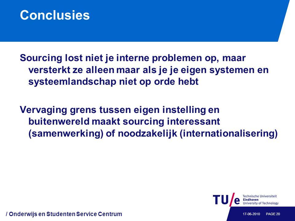 Conclusies Sourcing lost niet je interne problemen op, maar versterkt ze alleen maar als je je eigen systemen en systeemlandschap niet op orde hebt Ve