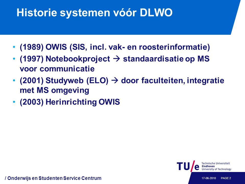 Historie systemen vóór DLWO (1989) OWIS (SIS, incl. vak- en roosterinformatie) (1997) Notebookproject  standaardisatie op MS voor communicatie (2001)