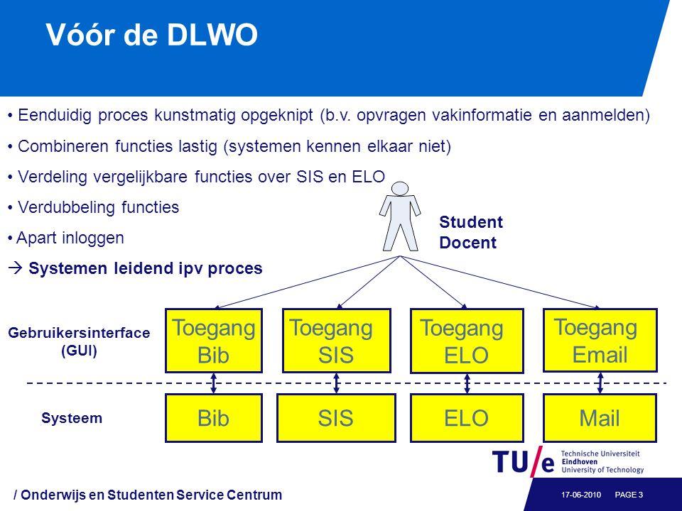 / Onderwijs en Studenten Service Centrum PAGE 317-06-2010 Vóór de DLWO Eenduidig proces kunstmatig opgeknipt (b.v. opvragen vakinformatie en aanmelden