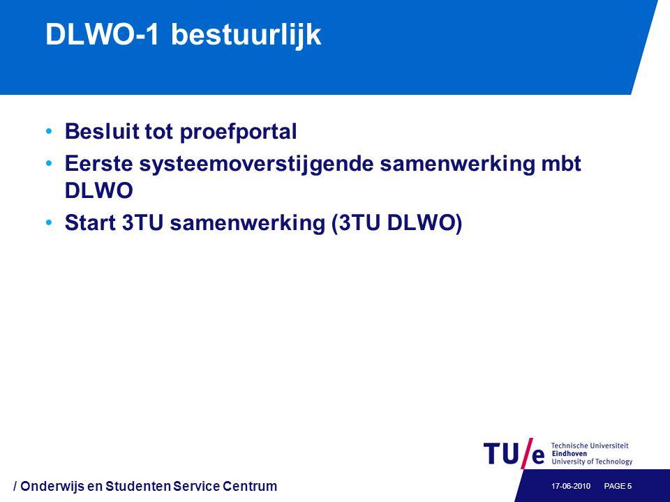 DLWO-1 bestuurlijk Besluit tot proefportal Eerste systeemoverstijgende samenwerking mbt DLWO Start 3TU samenwerking (3TU DLWO) / Onderwijs en Studente