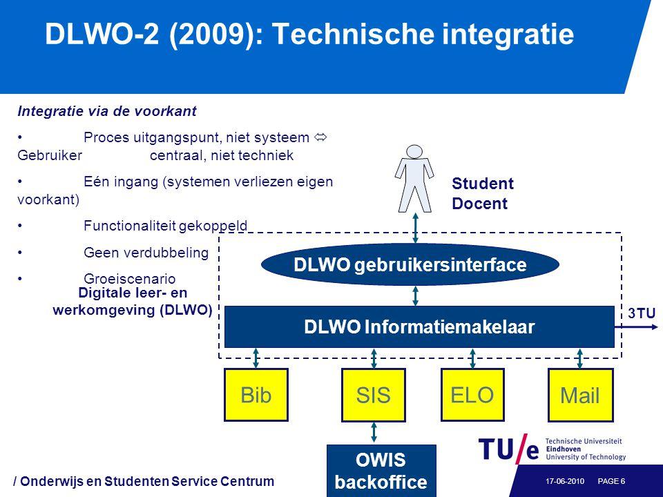 / Onderwijs en Studenten Service Centrum PAGE 617-06-2010 DLWO-2 (2009): Technische integratie Student Docent BibELO SIS Mail DLWO gebruikersinterface
