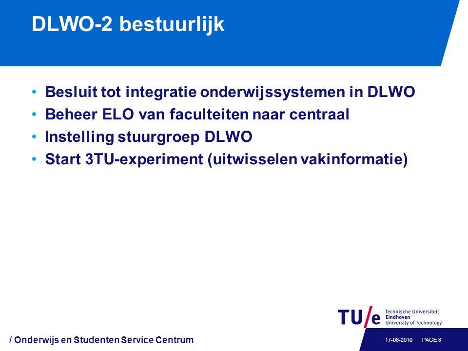 DLWO-2 bestuurlijk Besluit tot integratie onderwijssystemen in DLWO Beheer ELO van faculteiten naar centraal Instelling stuurgroep DLWO Start 3TU-expe