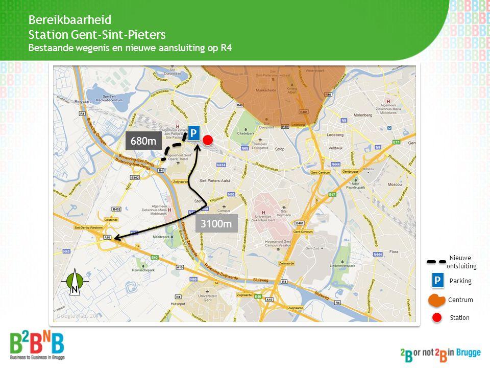 Bereikbaarheid Station Gent-Sint-Pieters Bestaande wegenis en nieuwe aansluiting op R4 3100m P P Centrum Station Google Maps 2011 P P Parking 680m Nie