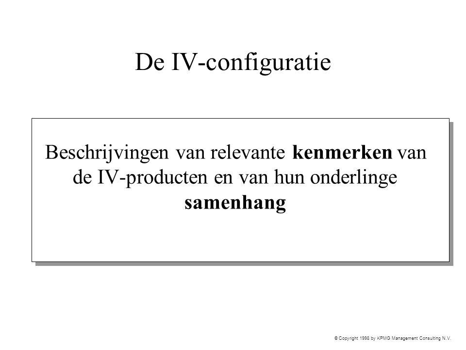© Copyright 1998 by KPMG Management Consulting N.V. De IV-configuratie Beschrijvingen van relevante kenmerken van de IV-producten en van hun onderling