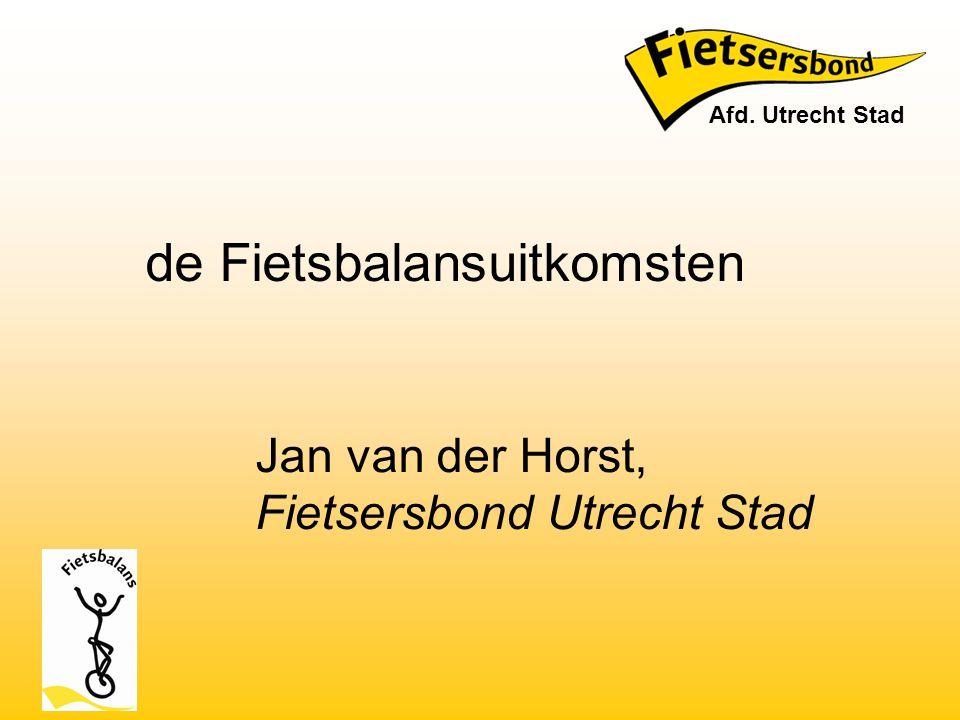 Jan van der Horst, Fietsersbond Utrecht Stad de Fietsbalansuitkomsten Afd. Utrecht Stad