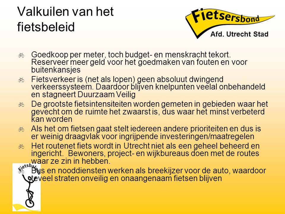Valkuilen van het fietsbeleid  Goedkoop per meter, toch budget- en menskracht tekort. Reserveer meer geld voor het goedmaken van fouten en voor buite