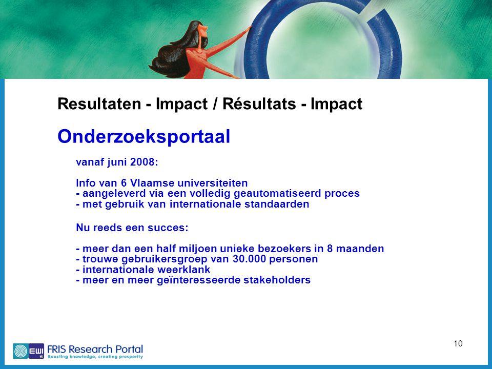 10 Resultaten - Impact / Résultats - Impact Onderzoeksportaal vanaf juni 2008: Info van 6 Vlaamse universiteiten - aangeleverd via een volledig geautomatiseerd proces - met gebruik van internationale standaarden Nu reeds een succes: - meer dan een half miljoen unieke bezoekers in 8 maanden - trouwe gebruikersgroep van 30.000 personen - internationale weerklank - meer en meer geïnteresseerde stakeholders