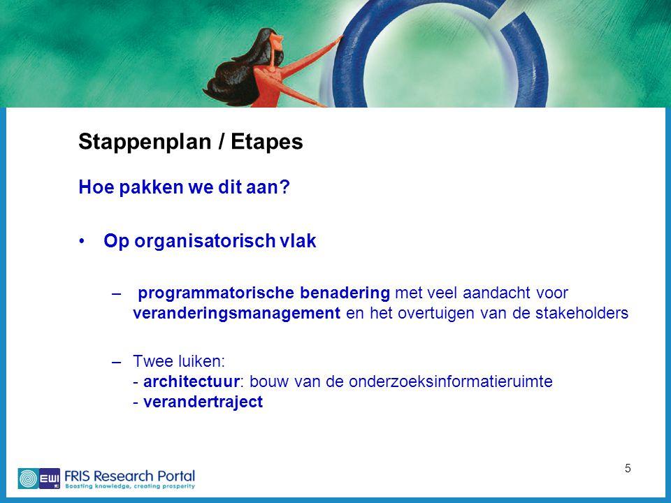 5 Stappenplan / Etapes Hoe pakken we dit aan? Op organisatorisch vlak – programmatorische benadering met veel aandacht voor veranderingsmanagement en