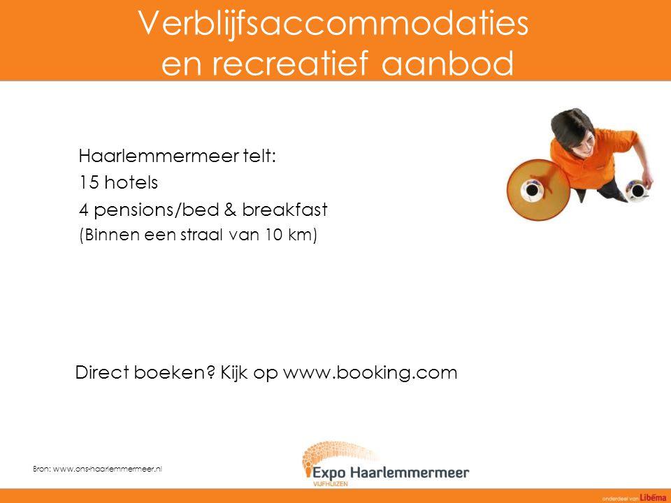 Verblijfsaccommodaties en recreatief aanbod Haarlemmermeer telt: 15 hotels 4 pensions/bed & breakfast (Binnen een straal van 10 km) Bron: www.ons-haarlemmermeer.nl Direct boeken.