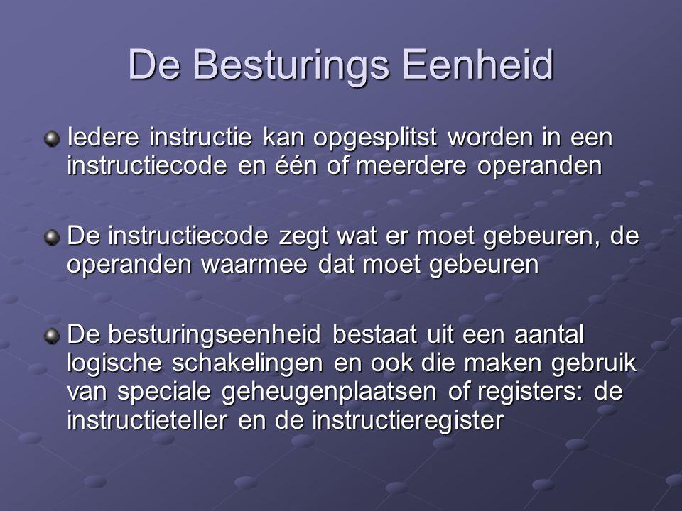 De Besturings Eenheid Iedere instructie kan opgesplitst worden in een instructiecode en één of meerdere operanden De instructiecode zegt wat er moet g