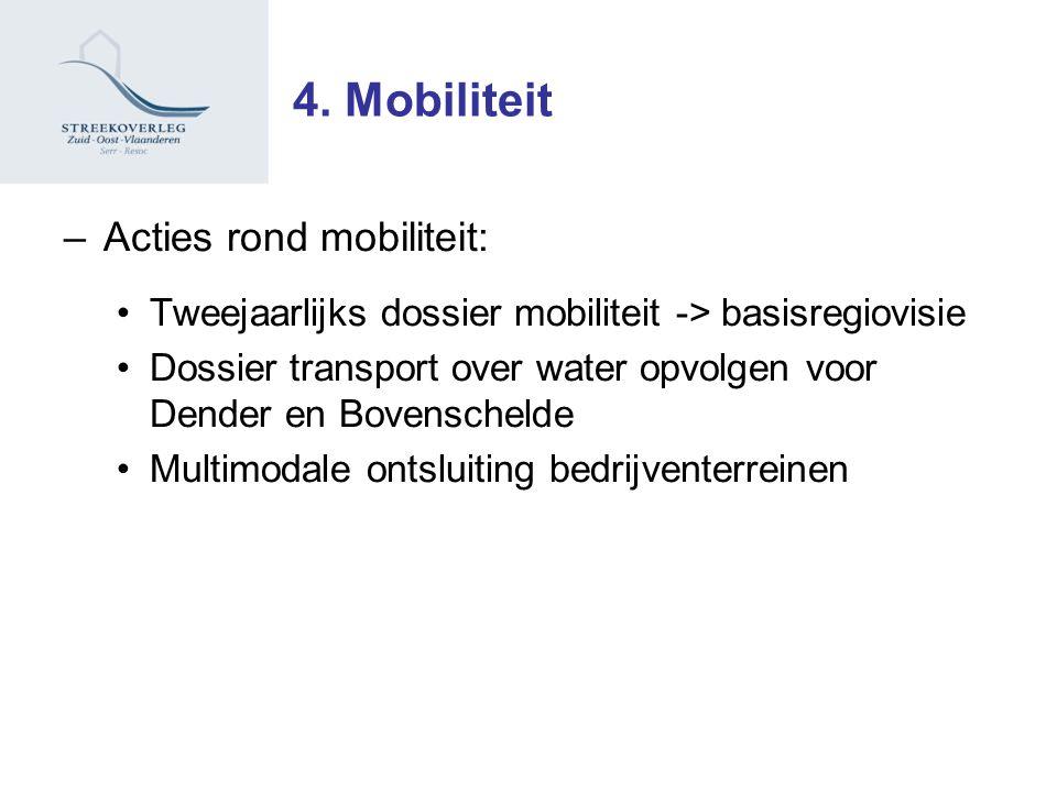 –Acties rond mobiliteit: Tweejaarlijks dossier mobiliteit -> basisregiovisie Dossier transport over water opvolgen voor Dender en Bovenschelde Multimodale ontsluiting bedrijventerreinen 4.
