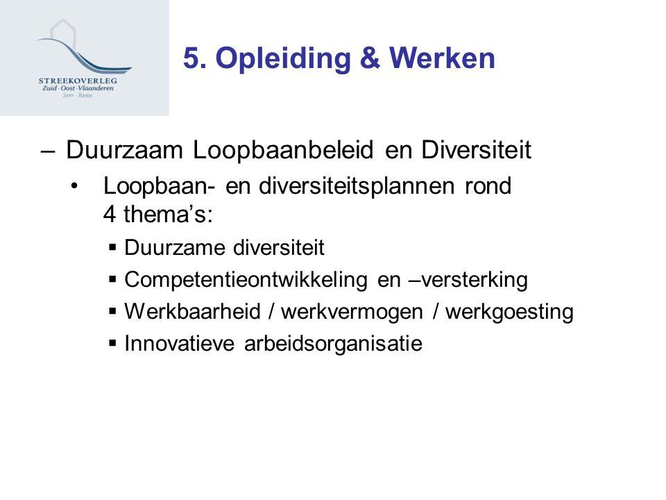 –Duurzaam Loopbaanbeleid en Diversiteit Loopbaan- en diversiteitsplannen rond 4 thema's:  Duurzame diversiteit  Competentieontwikkeling en –versterking  Werkbaarheid / werkvermogen / werkgoesting  Innovatieve arbeidsorganisatie 5.
