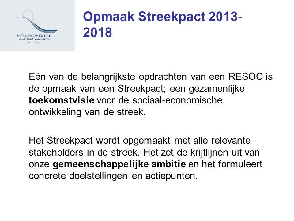 Opmaak Streekpact 2013- 2018 Eén van de belangrijkste opdrachten van een RESOC is de opmaak van een Streekpact; een gezamenlijke toekomstvisie voor de sociaal-economische ontwikkeling van de streek.