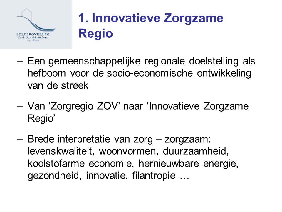 1. Innovatieve Zorgzame Regio –Een gemeenschappelijke regionale doelstelling als hefboom voor de socio-economische ontwikkeling van de streek –Van 'Zo