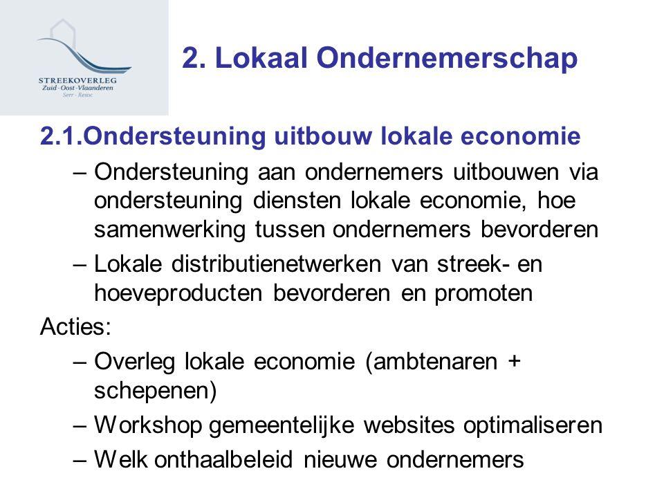 2. Lokaal Ondernemerschap 2.1.Ondersteuning uitbouw lokale economie –Ondersteuning aan ondernemers uitbouwen via ondersteuning diensten lokale economi