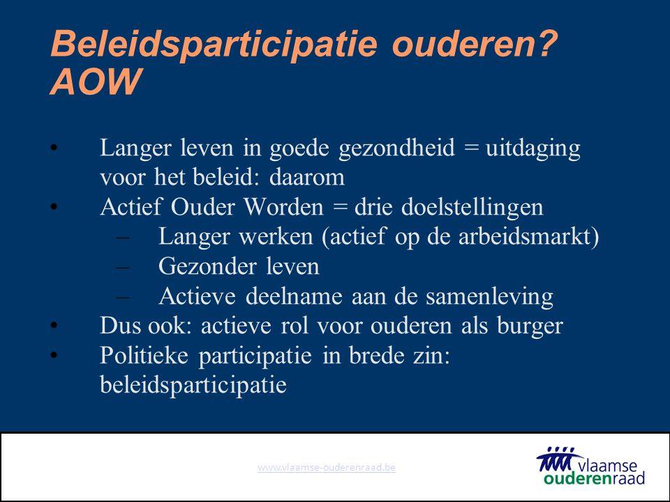 www.vlaamse-ouderenraad.be Een korte geschiedenis +/- 1975: Overlegkomitee Vlaamse Gepensioneerdenorganisaties 1993: Ouderenoverlegkomitee (OOK) 2005: Vlaamse Ouderenraad
