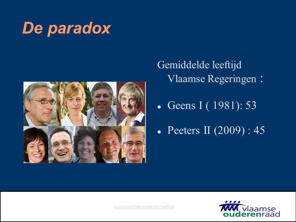 www.vlaamse-ouderenraad.be De paradox Gemiddelde leeftijd Vlaamse Regeringen : Geens I ( 1981): 53 Peeters II (2009) : 45