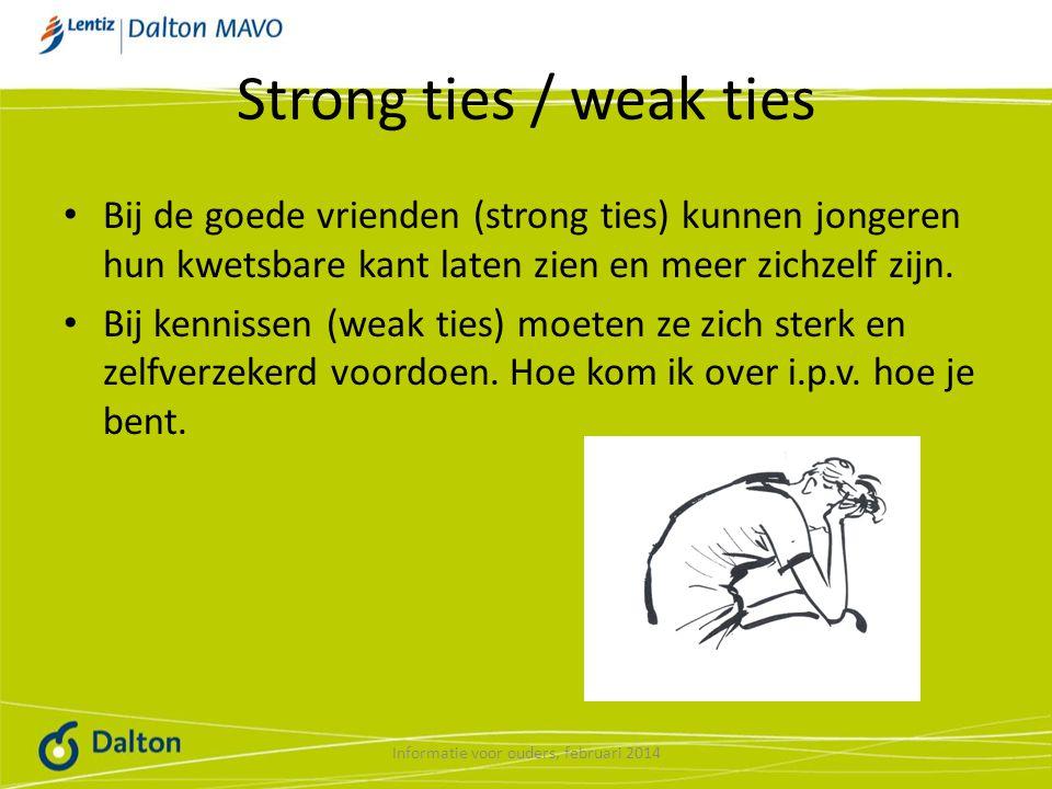 Strong ties / weak ties Bij de goede vrienden (strong ties) kunnen jongeren hun kwetsbare kant laten zien en meer zichzelf zijn.