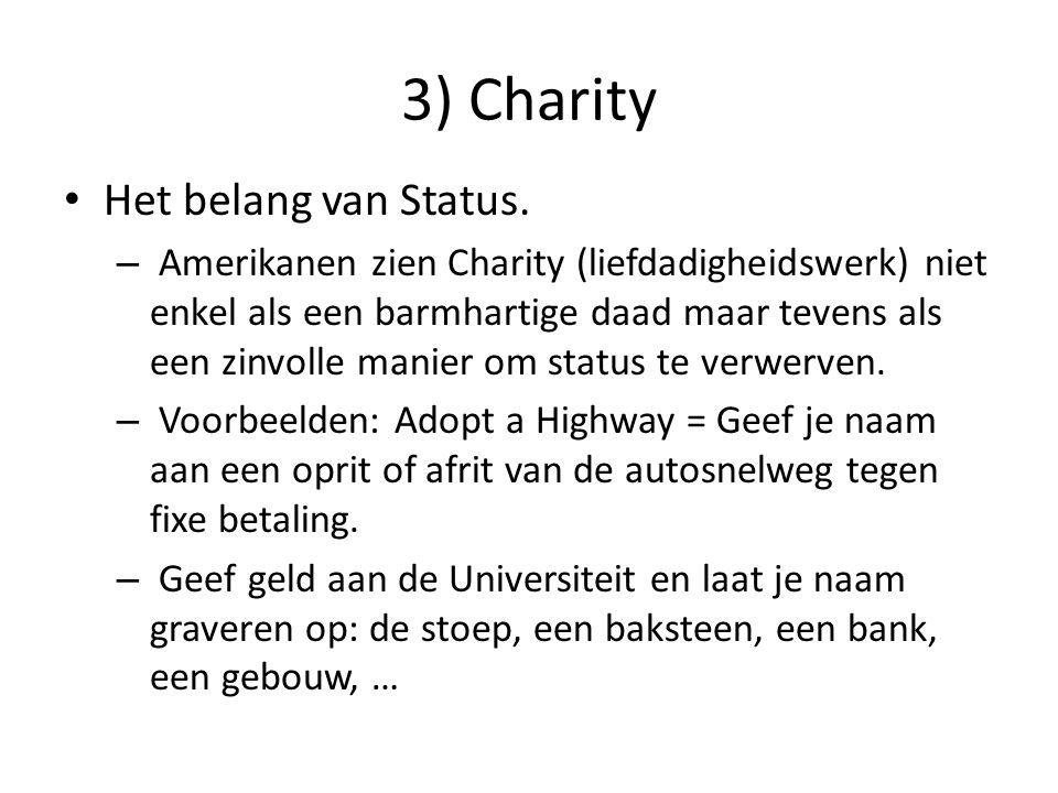 3) Charity Het belang van Status. – Amerikanen zien Charity (liefdadigheidswerk) niet enkel als een barmhartige daad maar tevens als een zinvolle mani