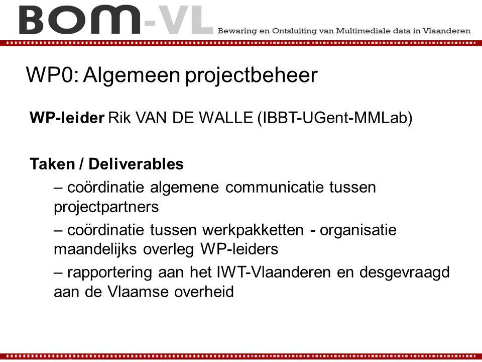 WP0: Algemeen projectbeheer WP-leider Rik VAN DE WALLE (IBBT-UGent-MMLab) Taken / Deliverables – coördinatie algemene communicatie tussen projectpartn