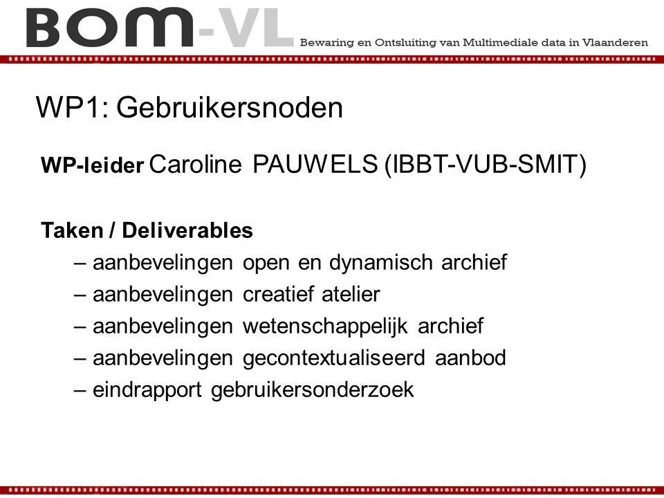 WP1: Gebruikersnoden WP-leider Caroline PAUWELS (IBBT-VUB-SMIT) Taken / Deliverables – aanbevelingen open en dynamisch archief – aanbevelingen creatie