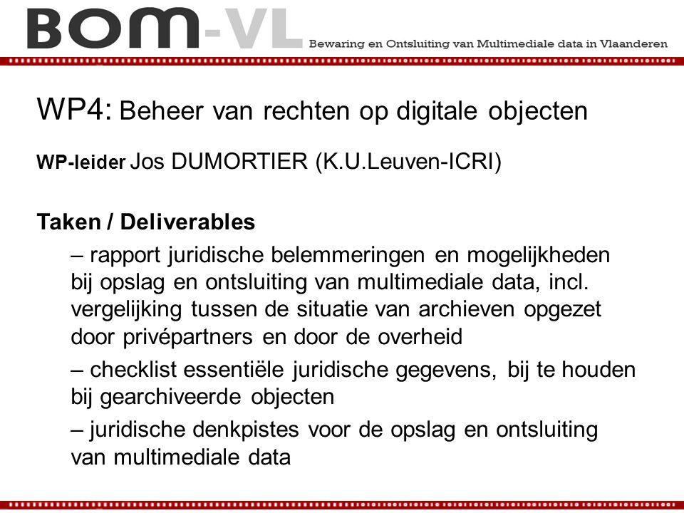 WP4: Beheer van rechten op digitale objecten WP-leider Jos DUMORTIER (K.U.Leuven-ICRI) Taken / Deliverables – rapport juridische belemmeringen en moge