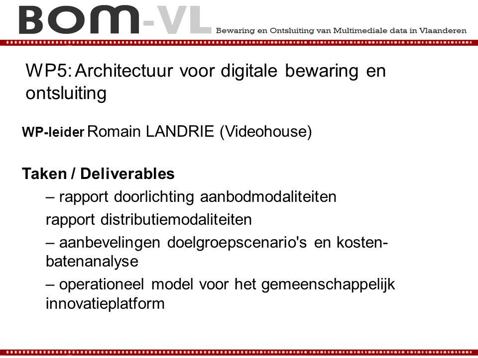 WP5: Architectuur voor digitale bewaring en ontsluiting WP-leider Romain LANDRIE (Videohouse) Taken / Deliverables – rapport doorlichting aanbodmodali