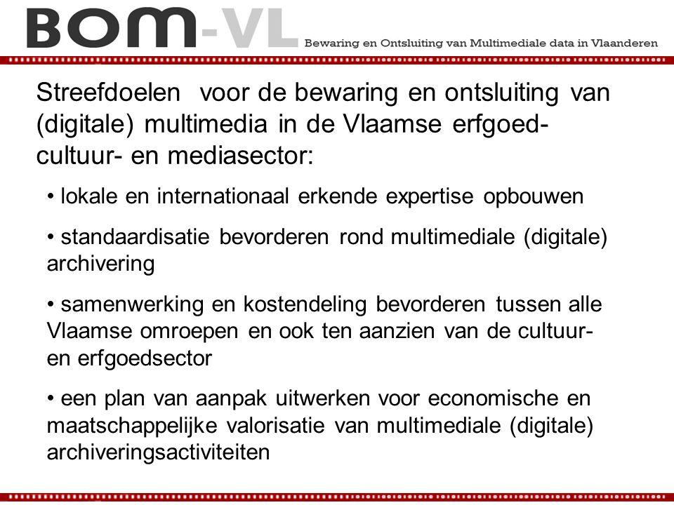 Streefdoelen voor de bewaring en ontsluiting van (digitale) multimedia in de Vlaamse erfgoed- cultuur- en mediasector: lokale en internationaal erkend