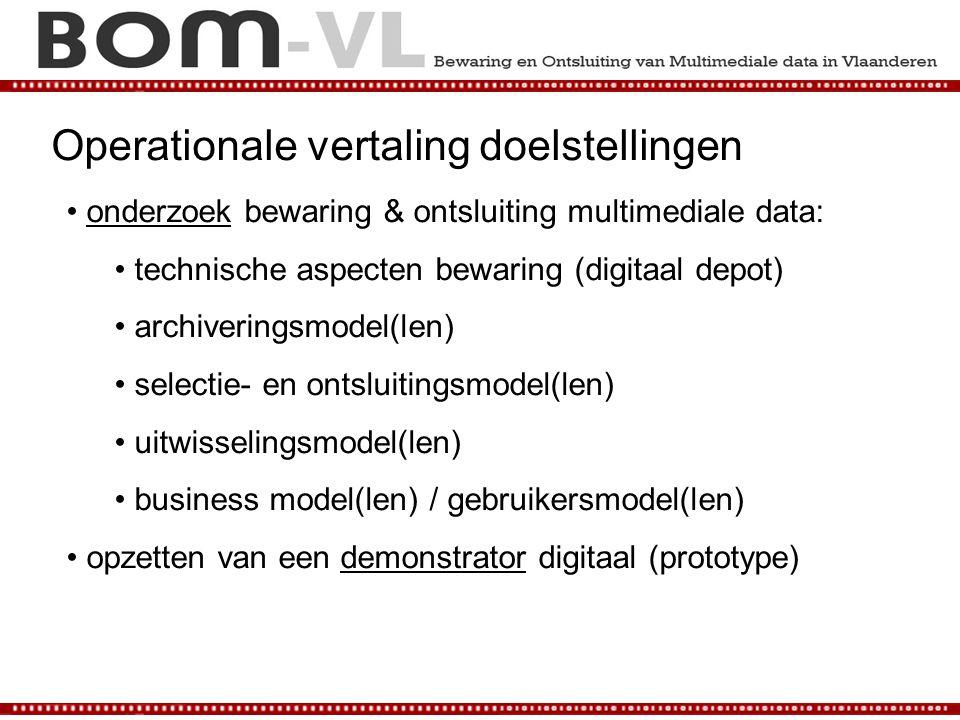 Operationale vertaling doelstellingen onderzoek bewaring & ontsluiting multimediale data: technische aspecten bewaring (digitaal depot) archiveringsmo
