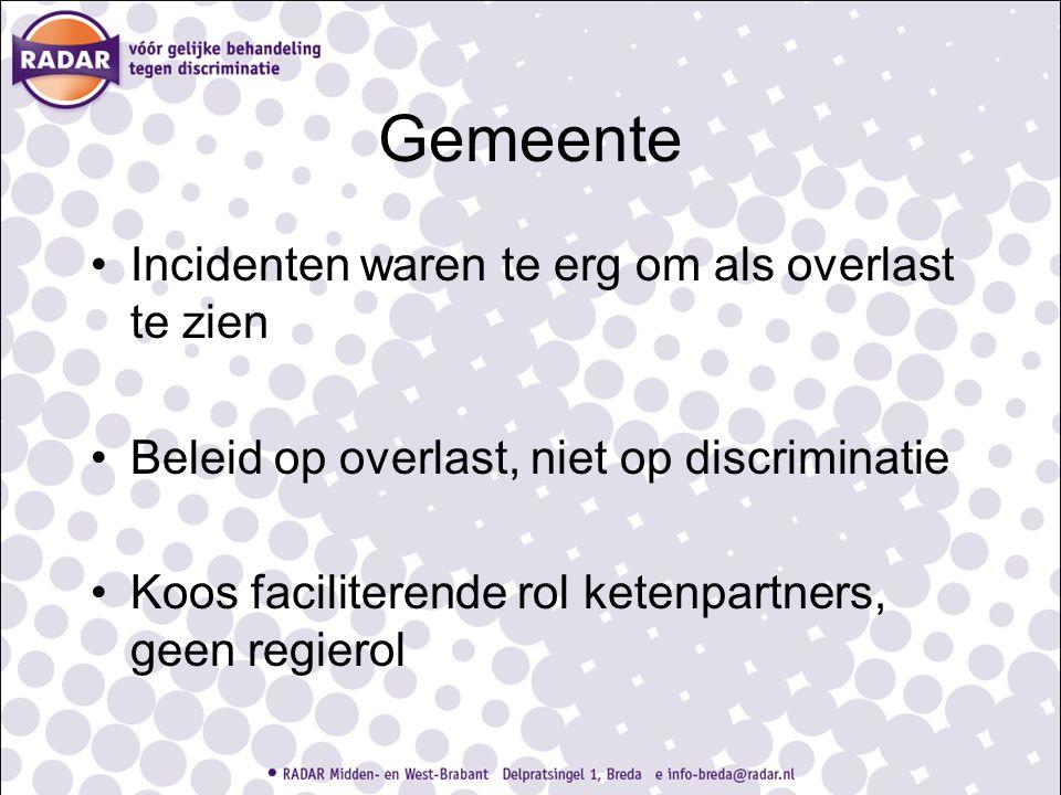 Gemeente Incidenten waren te erg om als overlast te zien Beleid op overlast, niet op discriminatie Koos faciliterende rol ketenpartners, geen regierol