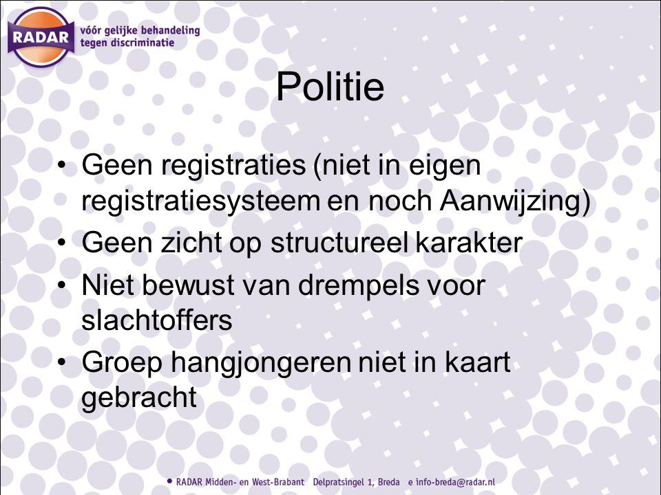 Politie Geen registraties (niet in eigen registratiesysteem en noch Aanwijzing) Geen zicht op structureel karakter Niet bewust van drempels voor slach
