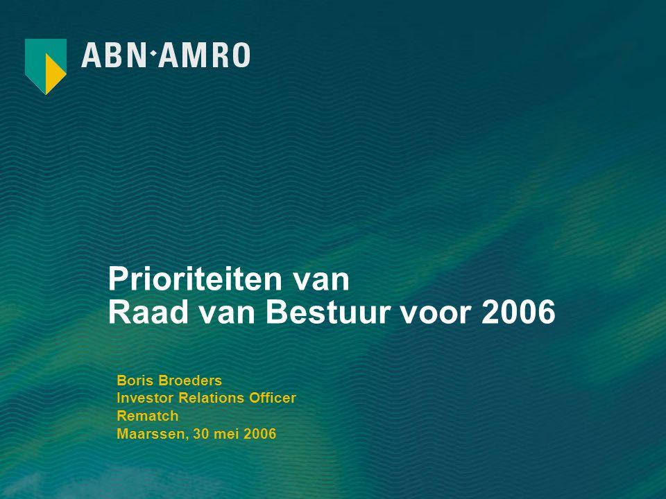 Prioriteiten van Raad van Bestuur voor 2006 Boris Broeders Investor Relations Officer Rematch Maarssen, 30 mei 2006