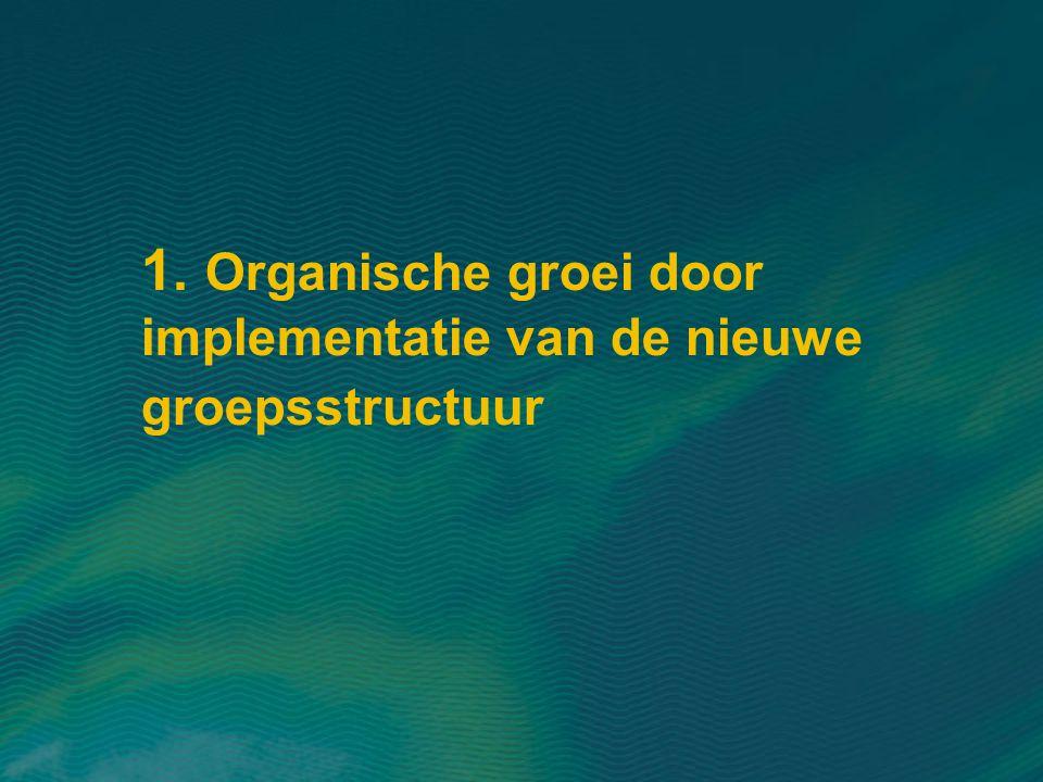 1. Organische groei door implementatie van de nieuwe groepsstructuur