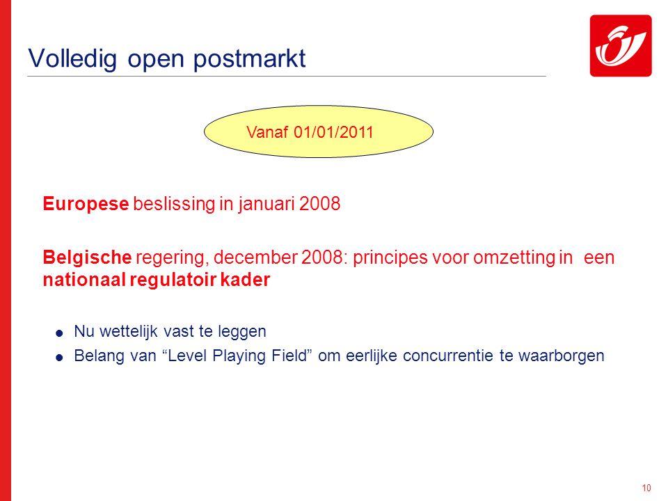 10 Volledig open postmarkt Europese beslissing in januari 2008 Belgische regering, december 2008: principes voor omzetting in een nationaal regulatoir