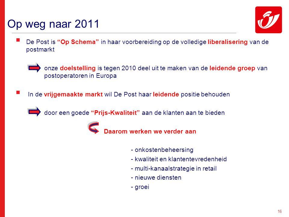"""16 Op weg naar 2011  De Post is """"Op Schema"""" in haar voorbereiding op de volledige liberalisering van de postmarkt onze doelstelling is tegen 2010 dee"""