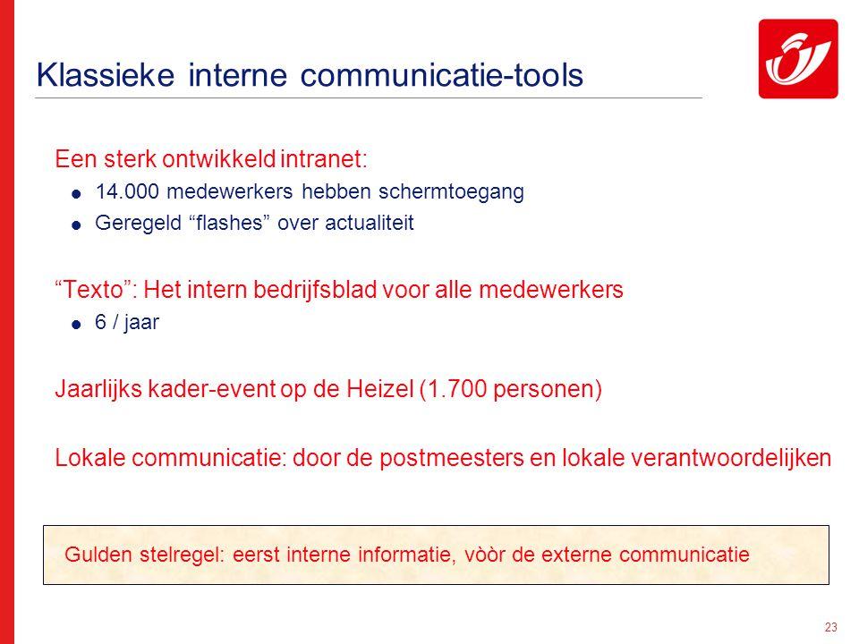 """23 Klassieke interne communicatie-tools Een sterk ontwikkeld intranet:  14.000 medewerkers hebben schermtoegang  Geregeld """"flashes"""" over actualiteit"""