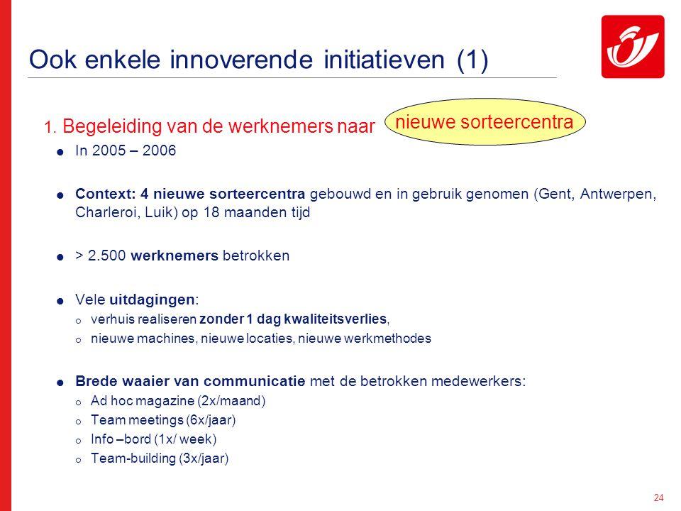 24 Ook enkele innoverende initiatieven (1) 1. Begeleiding van de werknemers naar :  In 2005 – 2006  Context: 4 nieuwe sorteercentra gebouwd en in ge