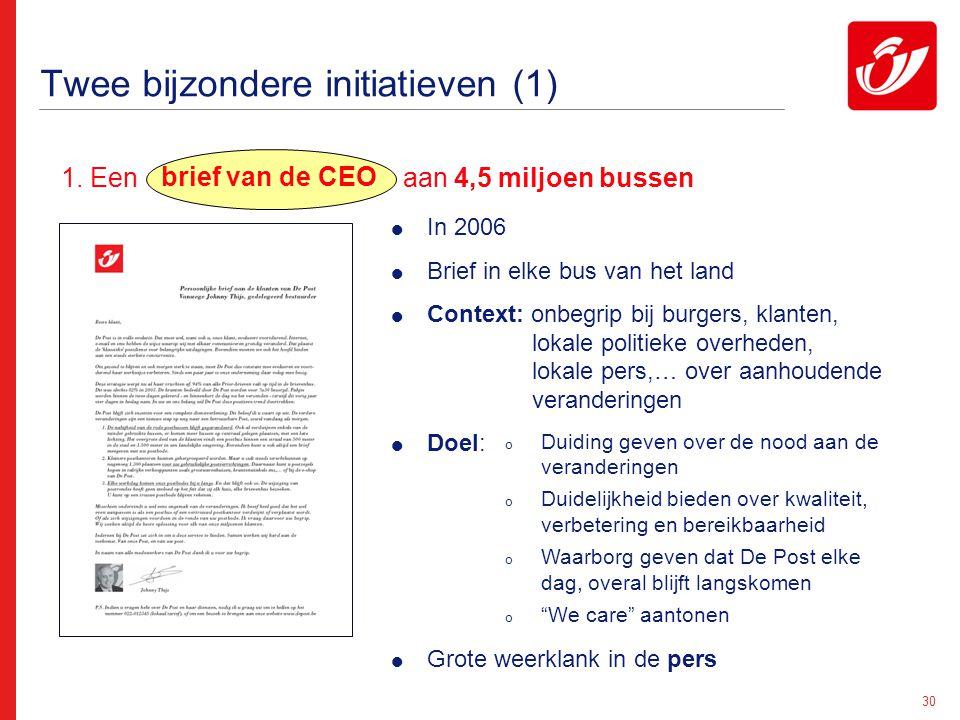 30 Twee bijzondere initiatieven (1) 1. Een aan 4,5 miljoen bussen  In 2006  Brief in elke bus van het land  Context: onbegrip bij burgers, klanten,