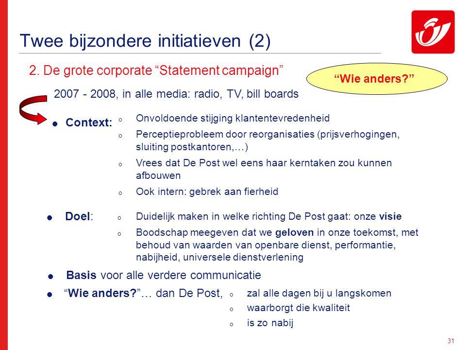 """31 Twee bijzondere initiatieven (2) 2. De grote corporate """"Statement campaign"""" 2007 - 2008, in alle media: radio, TV, bill boards  Context: o Onvoldo"""