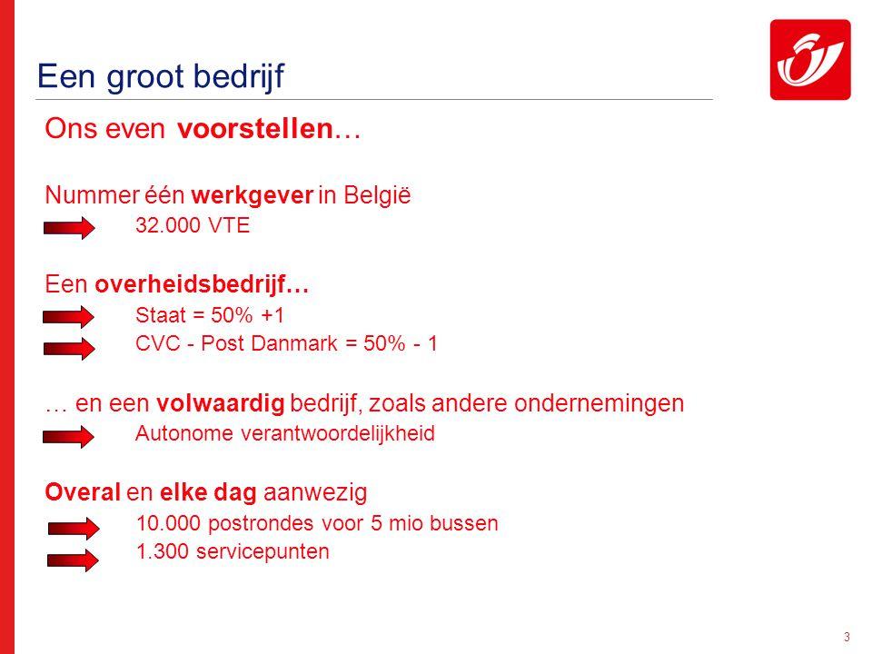 3 Een groot bedrijf Ons even voorstellen… Nummer één werkgever in België 32.000 VTE Een overheidsbedrijf… Staat = 50% +1 CVC - Post Danmark = 50% - 1
