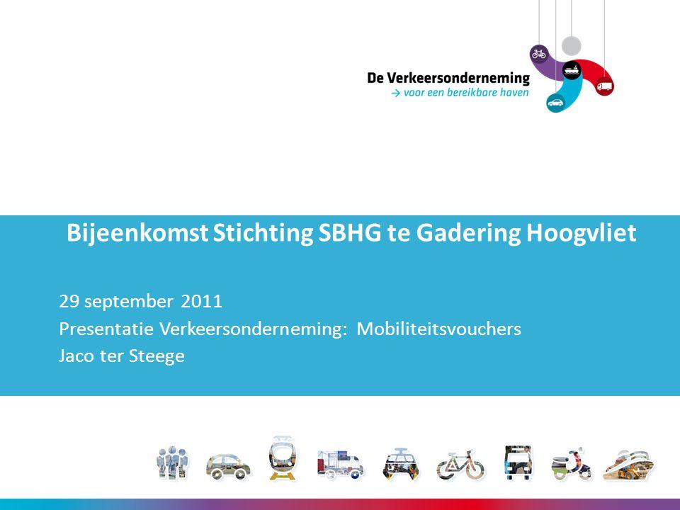 Bijeenkomst Stichting SBHG te Gadering Hoogvliet 29 september 2011 Presentatie Verkeersonderneming: Mobiliteitsvouchers Jaco ter Steege