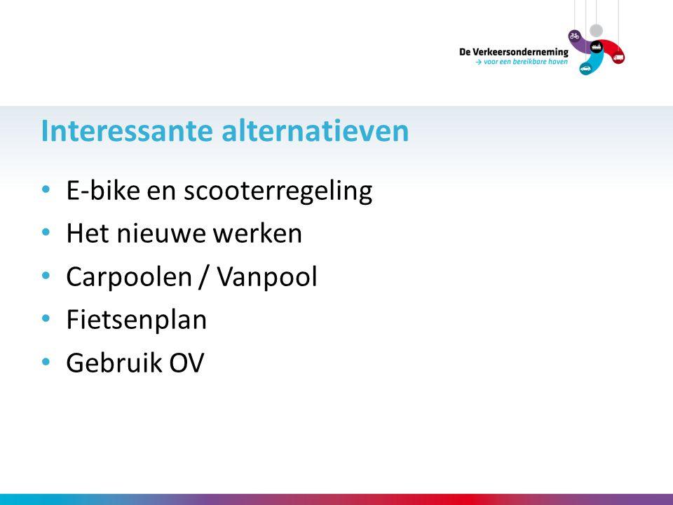 E-bike en scooterregeling Het nieuwe werken Carpoolen / Vanpool Fietsenplan Gebruik OV Interessante alternatieven