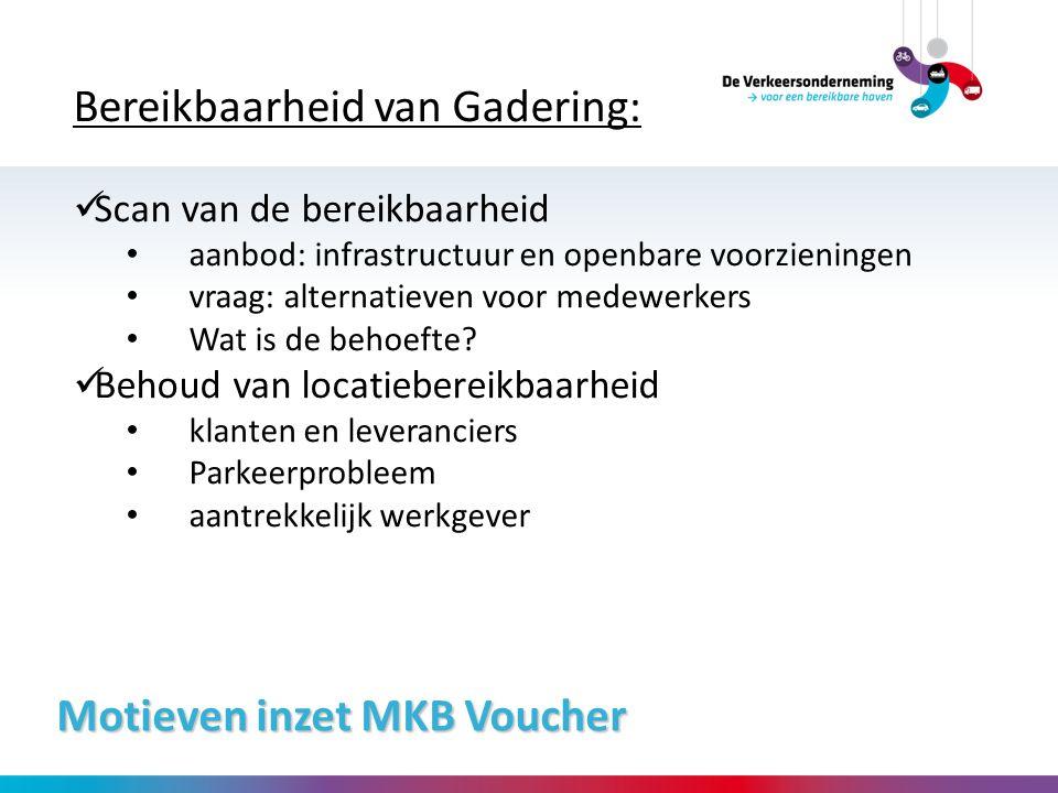 Motieven inzet MKB Voucher Bereikbaarheid van Gadering: Scan van de bereikbaarheid aanbod: infrastructuur en openbare voorzieningen vraag: alternatiev