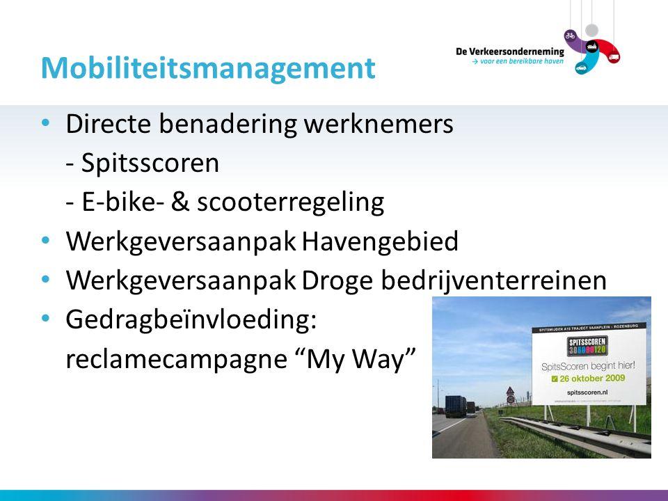 Directe benadering werknemers - Spitsscoren - E-bike- & scooterregeling Werkgeversaanpak Havengebied Werkgeversaanpak Droge bedrijventerreinen Gedragb